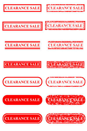 Set of Rubber Stamp Effect : Clearance, Isolated on White