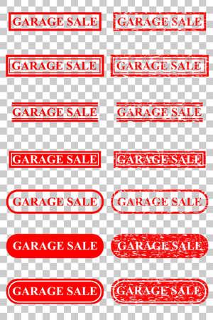 Set Rubber Stamp Effect : Garage Sale, at Transparent Effect Background