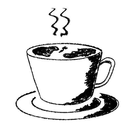 뜨거운 음료의 스케치 컵