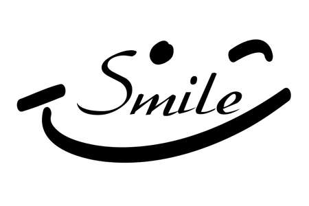 Lettering : Smile, Isolated on White