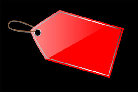 Red Shining Blank Tag with chrome list Stock Photo