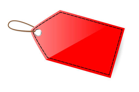 Red Shining Blank Tag with black line Stock Photo