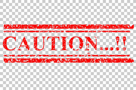 Red Rubber Stamp, Caution, at Transparent Effect Background