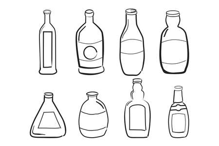Set Doodle outline of Wine Bottles