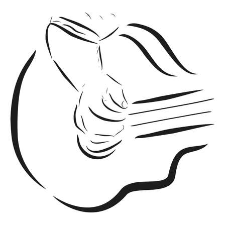 Simple Sketch, Close Up of man or woman playing accoustic guitar