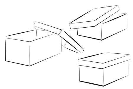 Sketch of Three Perspective Shoe Box