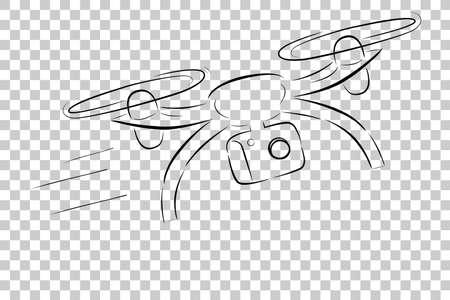 簡単なスケッチ: 飛ぶし、透明効果を背景に、移動のドローンを高速
