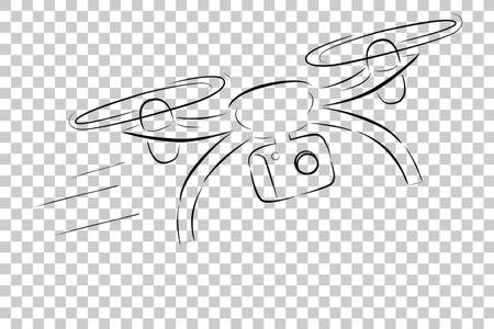 Simple Sketch : Fly and fast Moving Drone, at Transparent Effect Background Banque d'images