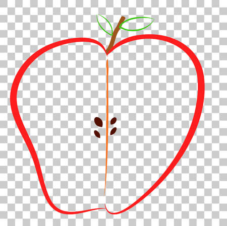 Doodle, Half of Colorful Apple, at Transparent Effect Background Stock Photo