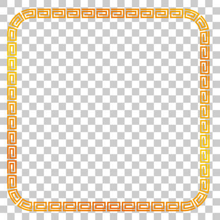 Seamless Golden Square Frame for Certificate, Placard Go Xi Fat Cai, Imlek Moment or other China Related, at Transparent Effect Background Banque d'images