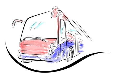 Sketch of Modern Big Bus with Red and Blue Water Color Low Angle Perspective