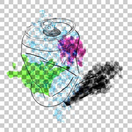 Doodle of Broken Soft Drink Can with splash  splat watercolor, at Transparent Effect Background