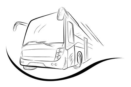 Sketch of Modern Big Bus, Low Angle Perspective
