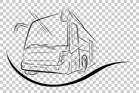Sketch of Modern Big Bus, Low Angle Perspective, at Transparent Effect Background Banco de Imagens