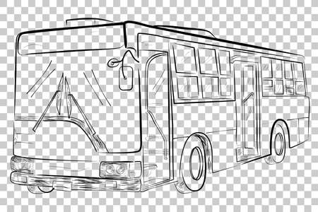 Sketch of Classic Big Bus, Low Angle Perspective