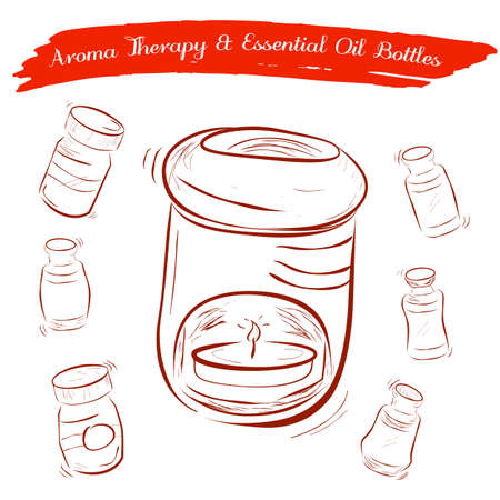 Sketch of Aroma Therapy Oil Burner and Essential Oil Bottles