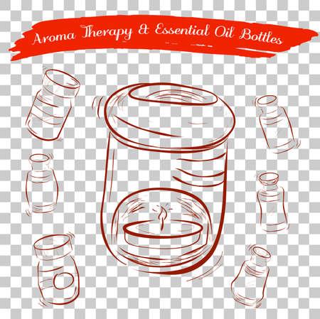 Croquis de aroma réservoir d & # 39 ; huile de pétrole et huile essentielle essentielle à effet de fond transparent Banque d'images - 95070256