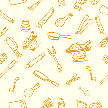 Hand Draw Sketch Seamless Background, Cook Ware, for wallpaper, backdrop, wrapping paper or other