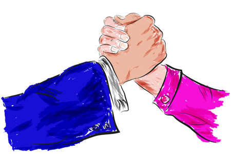 Sketch, Two man Hand shaking, with water color Effect Stock Photo