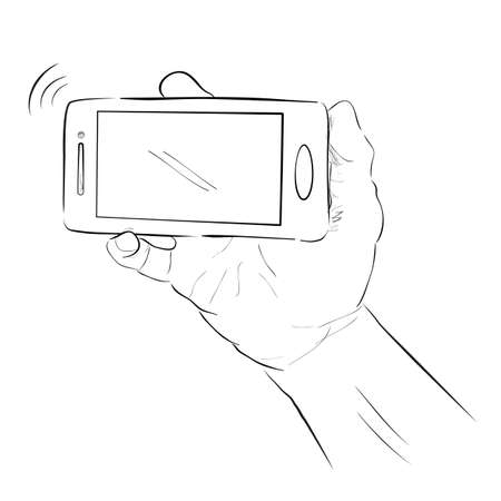 Simple Sketch of Hand Holding Smartphone