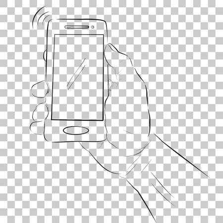 Simple Sketch of Hand Holding Smartphone at Transparent Effect Background Stock Photo
