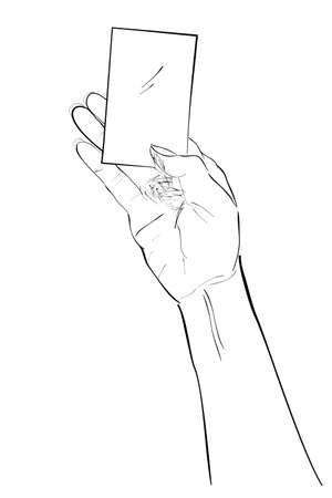 Sketch Hand Holding Blank Card, Isolated on White