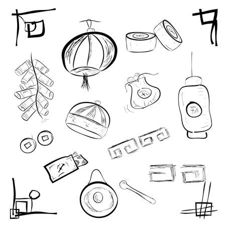 Simple Doodle of Imlek Item for your element design with china event Stock Photo