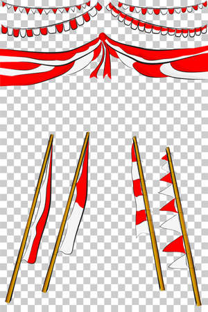 Element Design for Indonesia Independent Day Festival or Celebration, at Transparent Effect Background Stock Photo
