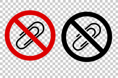 Two Style thick line Icon Prohibited Sign, No Paper Clip, at Transparent Effect Background