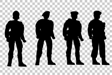 Set of Silhouette of Four Soldier, Low Angle Perspective, at Transparent Effect Background