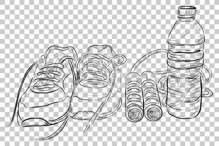Doodle Illustration of Healthy Life Style, Sport Shoes, Jumping / Skipping Rope and Mineral Water Bottle at Transparent Effect Background Stock Photo