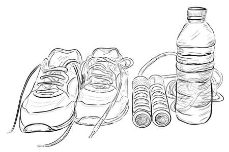 Doodle Illustration of Healthy Life Style, Sport Shoes, Jumping / Skipping Rope and Transparent Mineral Water Bottle