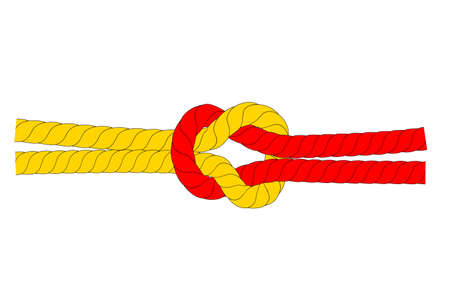 Illustration for Strong Relationship  Cooperation, Red and Brown Rope, at White Background