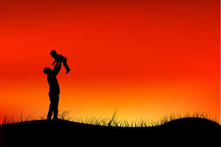 Silhouette of Father Have fun with his Children at grassland public park when sunset or sunrise