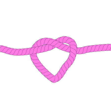 Illustration for Strong Love Relationship, Pink Rope, at White Background Stock Photo