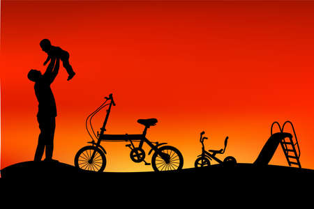 silhouette of father have fun with his children, slide, tricycle and folding bike at park when sunset or sunrise Stock Photo