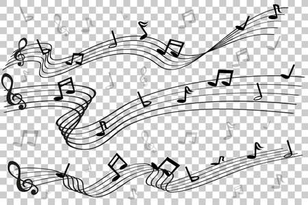 3 style of Musical Note waving line, for your element design, at transparent effect background