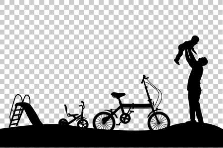 Silhouette of Father Have fun with his Children, slide, tricycle and folding bike at park at transparent effect background