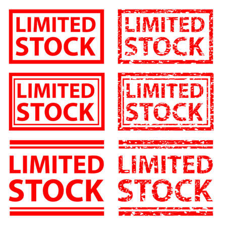 vector red rubber stamp effect, limited stock, white background