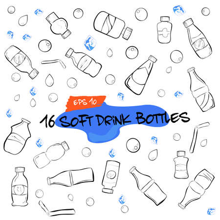 vector doodle of sixteen soft drink bottles, water drop, bubble and ice cube Stock Photo