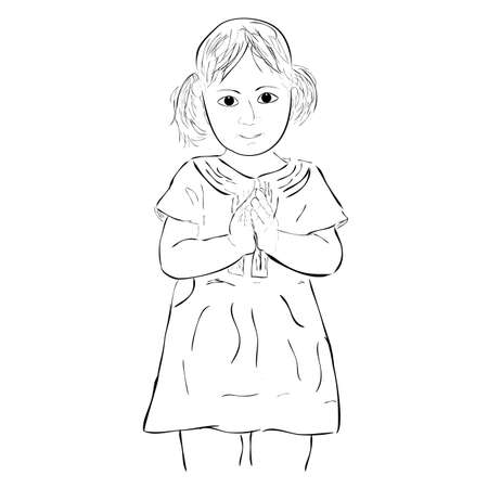 vector simple sketch young girl, greeting gesture, isolated on white