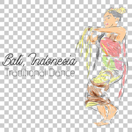 vector water color sketch, young girl traditional bali indonesia traditional dancer in action Stock Photo