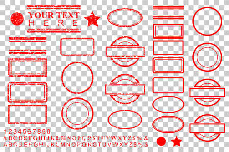 vector template alphabet, number, percent, dollar, dot, star, rectangle, lines oval circle rubber stamp effect for your element design