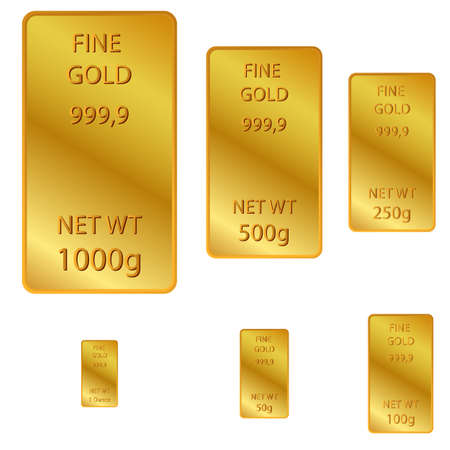 vector 6 different size of fine gold 免版税图像