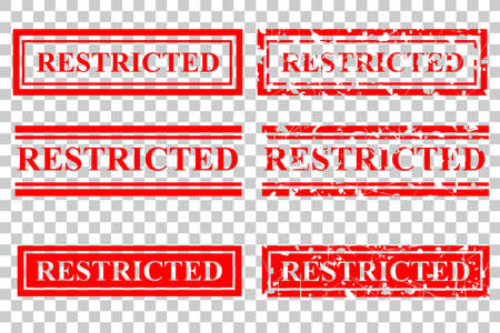 Vector set red rubber stamp effect restricted
