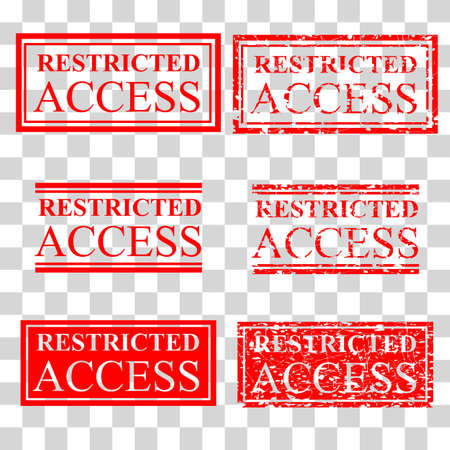 vector set red rubber stamp effect restricted access