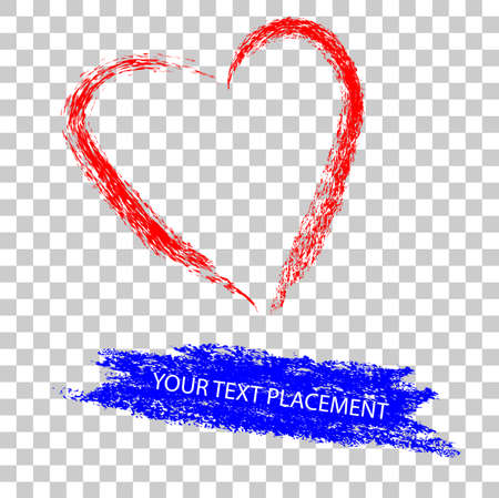 vector skechy red and blue crayon effect love shape and streak for text placement