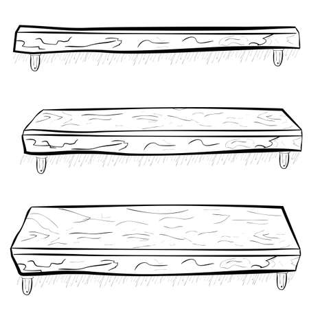 hand draw sketch wooden hanging shelf at three point of view, eye level, low and high angle Banco de Imagens