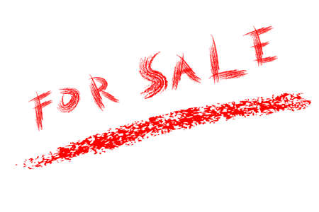 Red Crayon text, For Sale , Isolated on White