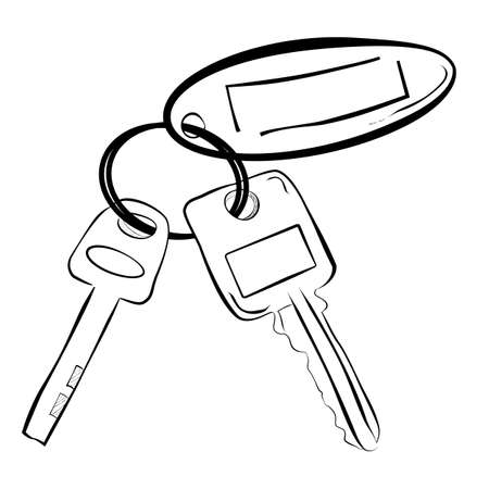 simple line art sketch of house  building key pad lock key and oval tag Stock Photo
